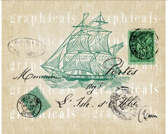 Teal sailing ship instant clip art French decor Digital download image for iron on fabric transfer burlap decoupage pillow tote No. 1872