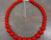 Statement Necklace, Red, Chunky Necklace, Round Bead Necklace, Red Bead Necklace, Big Bead Necklace, Red Necklace, Strand Necklace