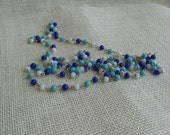 "Vintage Blue Bead Necklace, Single Strand Beaded Necklace, 55"" Necklace, Wedding Necklace, Something Blue"