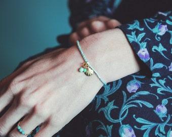 Mint bracelet, braided bracelet, lucky charms bracelet, scallop shell jewelry, gradient color bracelet, clam bracelet