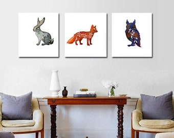 Decor forest animals,woodland,fox in orange,owl,Bunny Rabbit, 3 Canvas Prints,Kids Room Animal Decor,3 animal canvases,Kids wall art