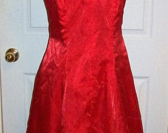 Vintage Ladies Red Party Dress Medium Rockabilly Pinup Only 18 USD