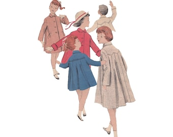 Girl's Coat Size 6 Breast 24 Vintage 1950s Butterick Sewing Pattern 7907 Welt Pockets Pleated Back Topper Car Coat