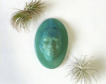 Van Briggle Big Buffalo / Indian Wall Cameo Plaque, Turquoise Pottery