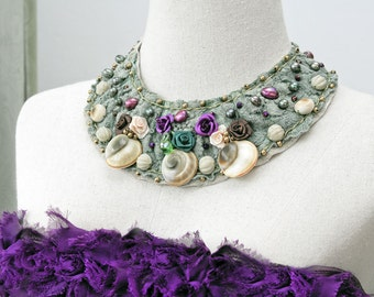 Bib Bead Embroidery Necklace Lace Adjustable Romantic Statement Collar Chunky Purple Roses Green beads Pearls Leather Large Christmas gift