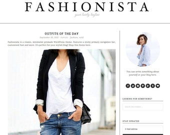 "Wordpress Theme Responsive Blog Theme Design ""Fashionista"" - Minimalist, Clean and Simple"