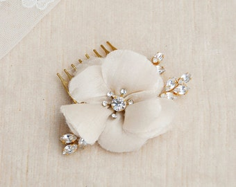 Wedding hair flower with crystal leaf, silk floral comb, bride hair jewelry, bridal ivory accessories, gold leaves headpiece - #234