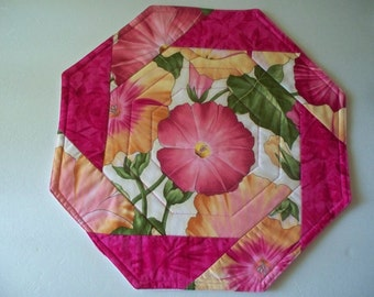 """Octagon  Table topper - Quilted - 14"""" - Pinks  yellows -  Morning Glories  -   Octagon Display Mats - Candle Mats"""