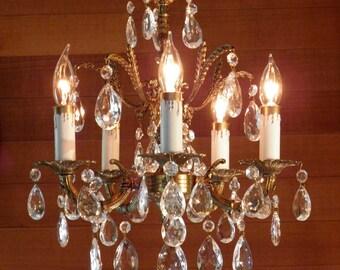 Vintage Chandelier Antique Petite Chandelier Ornate Brass Design Crystal Prisms The Prettiest!