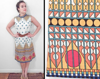 1960s OP ART Dress Mod Sleeveless Shift Size Medium Sky Mustard Pumpkin