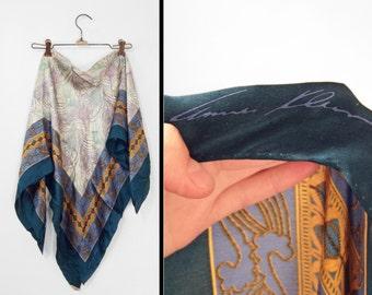 Silk FEATHER Scarf 1980s Anne Klein Large Cerulean Cornflower Turquoise Gold Navy