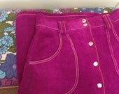Suede Fuchsia Pink Purple Skirt White Contrast Stitching 70s 60s Mid A Line Pockets Poppers Belt XS S