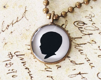 Three Medium Size Brass Custom Silhouette Pendant Necklace for Mother or Grandmother