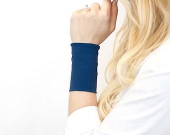 Fabric Wrist Cuff Bracelet, Fabric Bracelets, Stretch Cuffs, Blue Jersey Wrist Tattoo Cover Up Wrist Covers, Arm Wristband Band, Armband