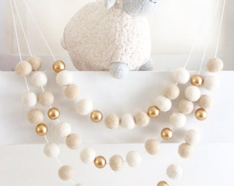 Vanilla Gold- Neutral Felt Ball Garland- Gold Nursery Decor- Cream Ivory Gold Felt Ball Garland- Ivory Cream Nursery Bunting- Gender Neutral