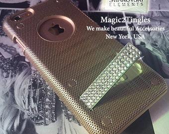 Luxury Stylish Metallic Mesh Design Diamond Bling Stand Case Made Swarovski Elements Crystals Champagne Black White For iPhone 6s Plus SE 5s