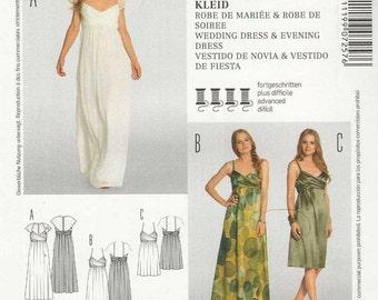 Burda 7257 Evening wedding dress knee long empire waist crossover bodice straps sleeves flowing skirt Size 6-8-10-12-14-16-18 uncut