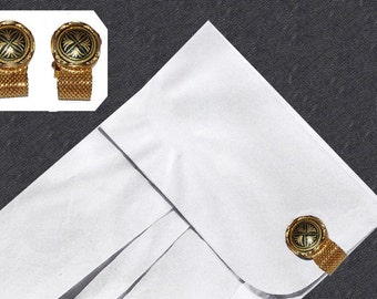 1960s Cuff Links, Gold Mesh Wrap, Black Enamel, Heraldic Design