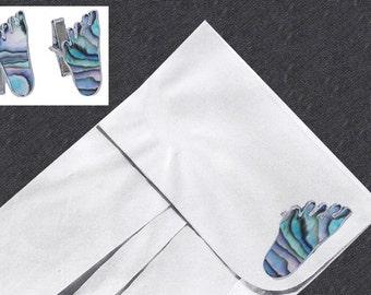 Abalone Cuff Links, Barefeet, Mexican Sterling Silver Cufflinks, 925, Foot Cufflinks