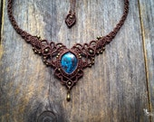 Micro Macrame Boho Chic Azurite Necklace bohemian victorian style jewelry by Mariposa A1