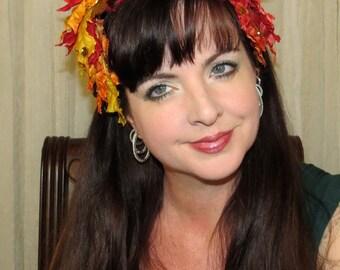 FALL GLORY Crown Fall Floral Headdress Hair Adornment ooak
