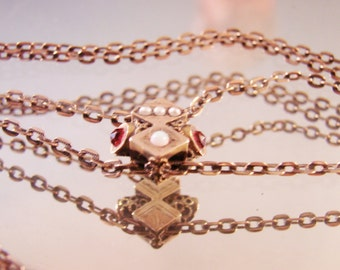 Victorian Watch Slide & Chain / Rubies / Pearls / Opal / Gold Filled / Designer Signed / Antique / CIJ Sale 20% Off Coupon Code (CIJSALE1)