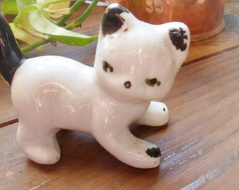 Antique Kitten Figurine, Black and White Cat Figurine from the 20's