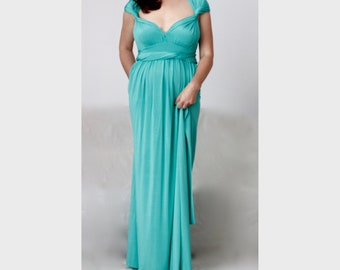 Plus Size Turquoise Wrap Bridesmaid Dress / Turquoise Convertible Multi Way Wedding Dress / Infinity Maxi Dress Custom order to your size