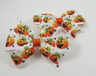 Halloween Hair Bow Set - Pigtail Hair Bow Set - Pigtail Hair Bows - Pumpkin Hair Bows - Halloween - Hair Bows - Hair Bow Set - Pigtails