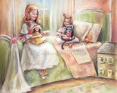 "Kitten kitty, sisters, girls 'Playing with Dolls... and Kitty"" childhood illustration by Laurie Shanholtzer Canvas or art paper print"