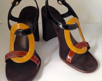 Vintage 1990's MIU MIU Prada Open Toe Heels Made in Italy Size 37.5 or U.S. Size 7