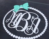 Monogram Car Decal Monogram with Bow Pearl Border Vinyl Decal Car Decal Car Personalized Decal Preppy Girly Southern Vinyl Car Decal
