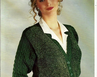 Chenille and Double Knittings Jacket Pattern Booklet Patons 3935
