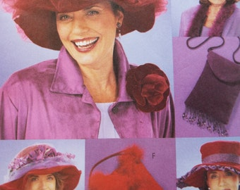 Red Hat Society collection of hats and purses pattern by Faye Wine uncut McCalls 3987