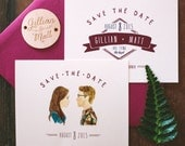 Rustic and Woodland Watercolor Save The Date: Custom Illustrations