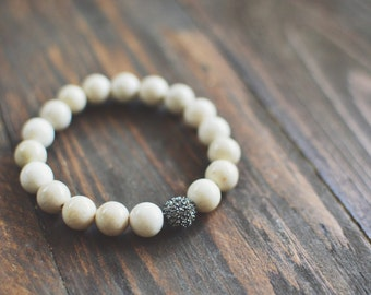 Natural Riverstone Stretch Gemstone Bracelet // Crystal Gunmetal Pave Bead // Cream Stones // Bracelet Stack
