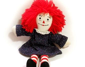 Vtg Raggedy Ann Handmade Cloth Doll