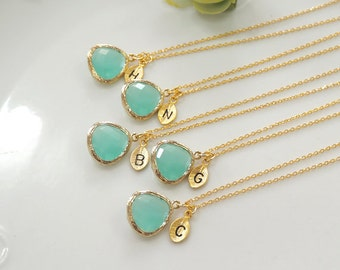 Set of 4, 5, 6 -Mint crystal pendant necklace,Bridesmaid gifts, Leaf initial,  stone in bezel, Initial necklace