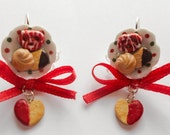 Food jewelry clay Christmas xmas cookies on a ceramic plate polymer clay miniatures jewellery funny ideas gift for her under 20 usd winter