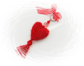 Crochet Keychain - Bag Charm - Crochet Red Heart - Unique Handmade Gift - Hanging Decoration
