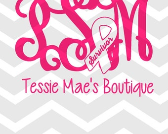Breast Cancer; Cancer Ribbon; Monogram; Survivor Initials Request; Digital Design