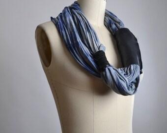 Blue Spring Scarf - Spring Scarf - OOAK Necklace Scarf - Leather and Rayon Scarf - Leather Scarf - Tie Dyed Scarves