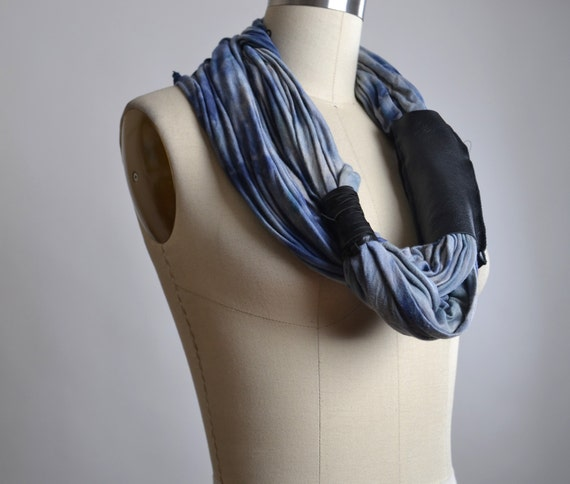 Blue Spring Scarf - Spring Scarf - OOAK Necklace Scarf - Leather and Rayon Scarf - Leather Scarf - Tie Dyed Scarves