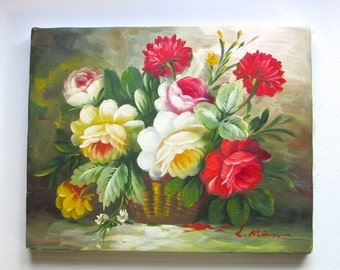 American Folk Art Tole Flower Painting, Basket of Roses, Fresh County Style, Cottage Chic,