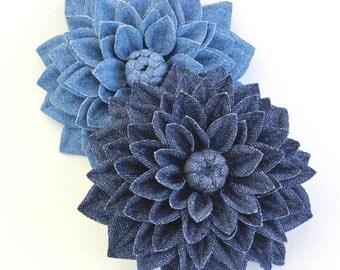 Denim jewelry, cotton flower, denim flower, denim wedding, dahlia flower corsage, cotton wedding gift, wedding anniversary gift for her