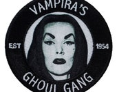 """Cult Classic """"Vampira's Ghoul Gang"""" Show Fan Club Badge Iron-On Applique Patch"""