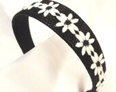 Hair Accessory, Headband, Faux Leather, Black Floral Hair Accent, Preppy Accessory, Handmade Hair