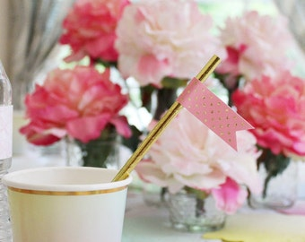Pink and Gold Straw Flags