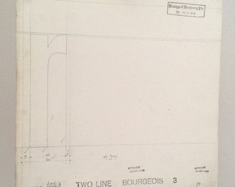 Letter R, industrial drawing, original font casting drawing, typographic drawing: Listing is for 1 drawing. 1967.