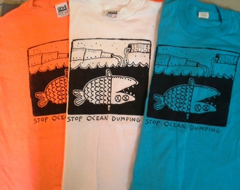 "Deadstock '80s ""Stop Ocean Dumping"" T-Shirt Unworn NOS Earth Day Ecological"